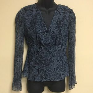 ECI sheer beaded blouse with black lining